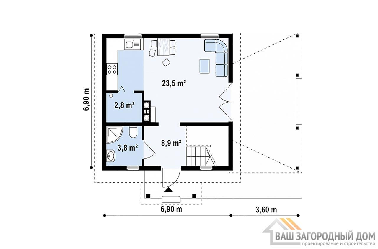Готовый проект дома в один этаж с мансардой общей площадью 61м2, К-161458 вид 3