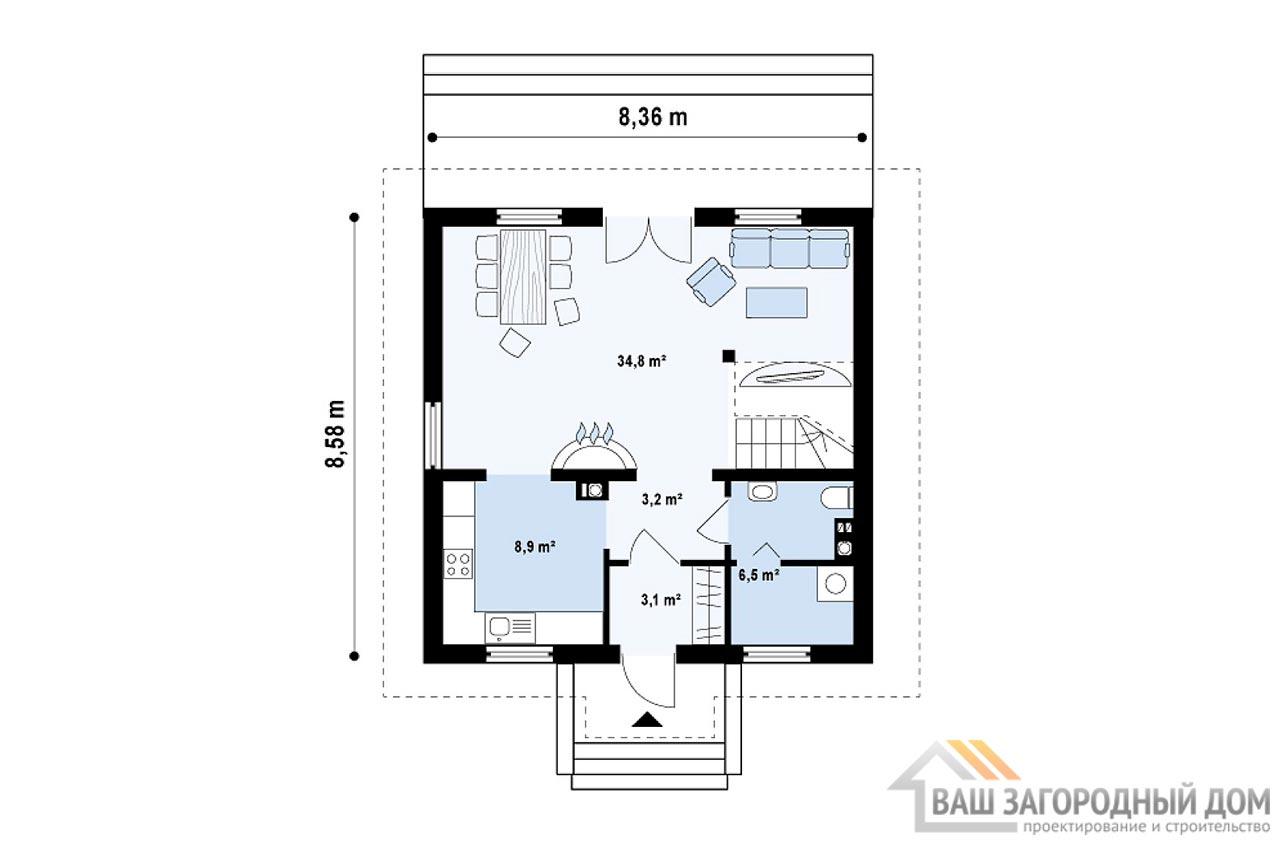 Проект 1 этажного дома с мансардой площадью 95 м2, К-195715 вид 2
