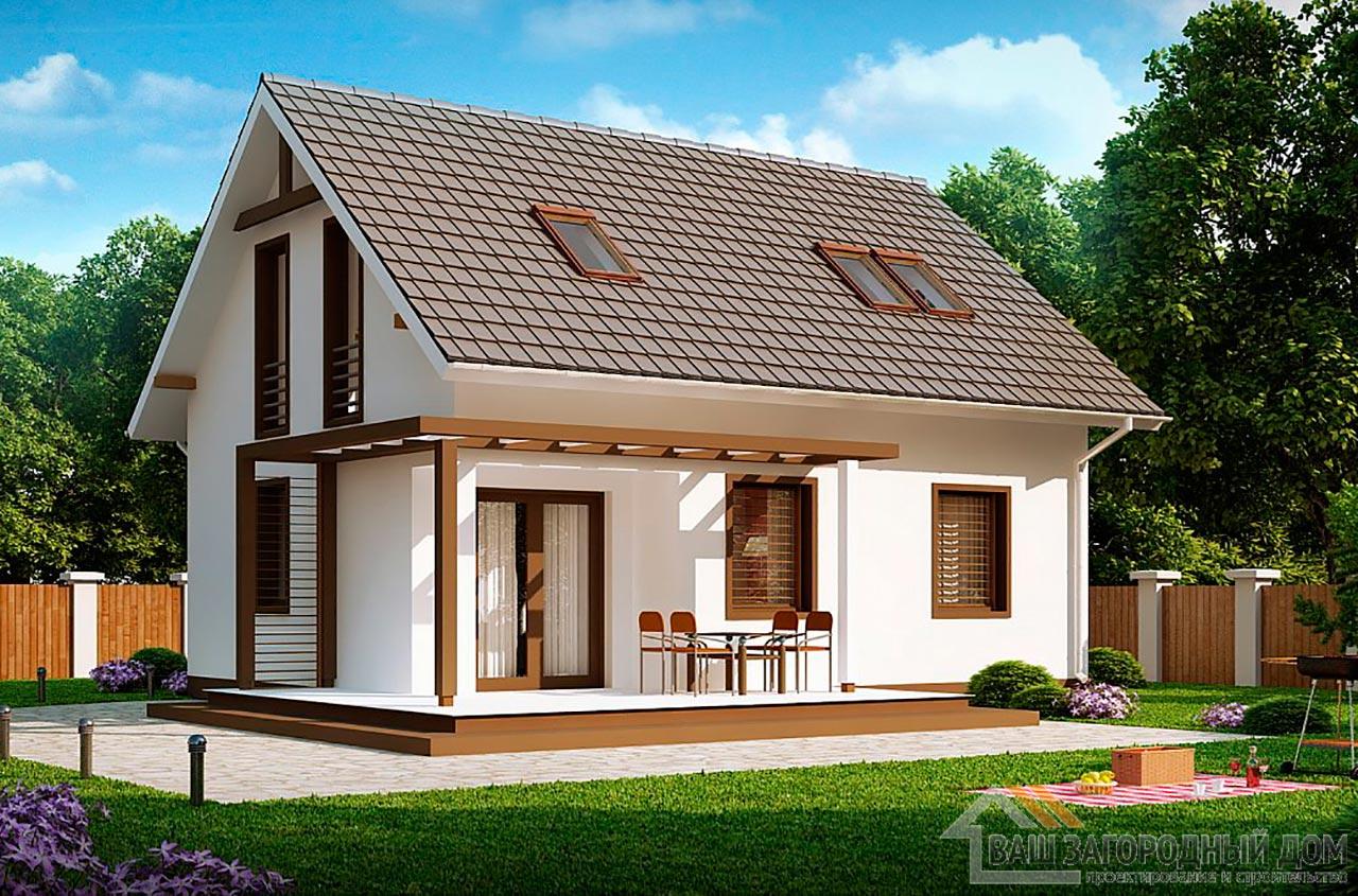 Готовый проект одноэтажного дома с мансардой общей площадью 78 м2, К-178585 вид 2