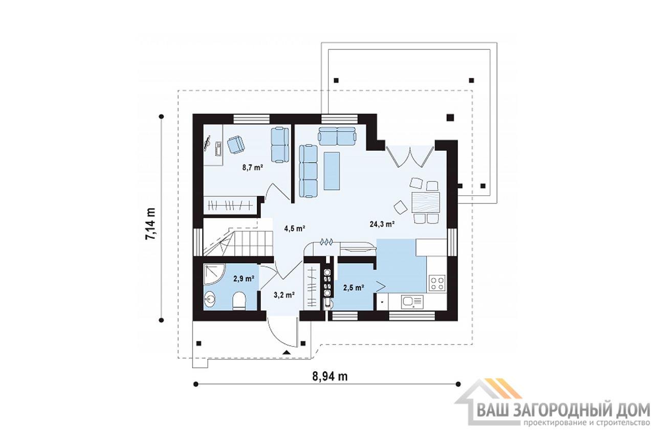 Готовый проект одноэтажного дома с мансардой общей площадью 78 м2, К-178585 вид 3
