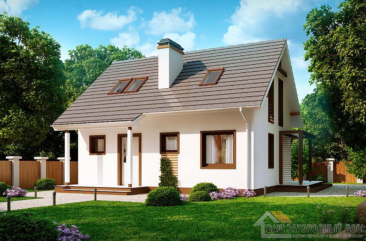 Готовый проект одноэтажного дома с мансардой общей площадью 78 м2, К-178585