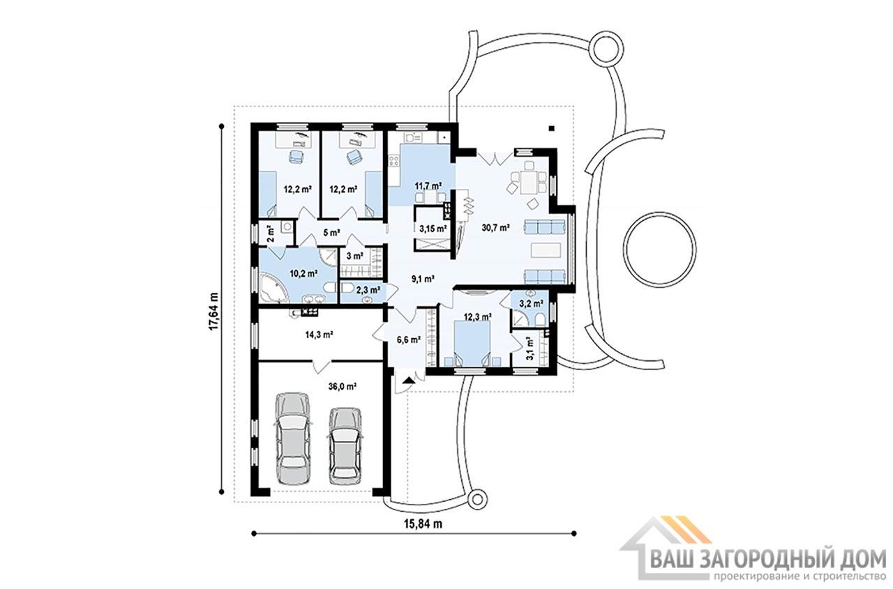 Типовой проект дома в один этаж общей площадью 176 м2, К-117613 вид 4