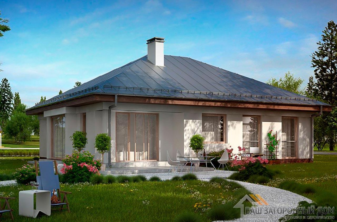 Типовой проект дома в один этаж общей площадью 176 м2, К-117613 вид 3