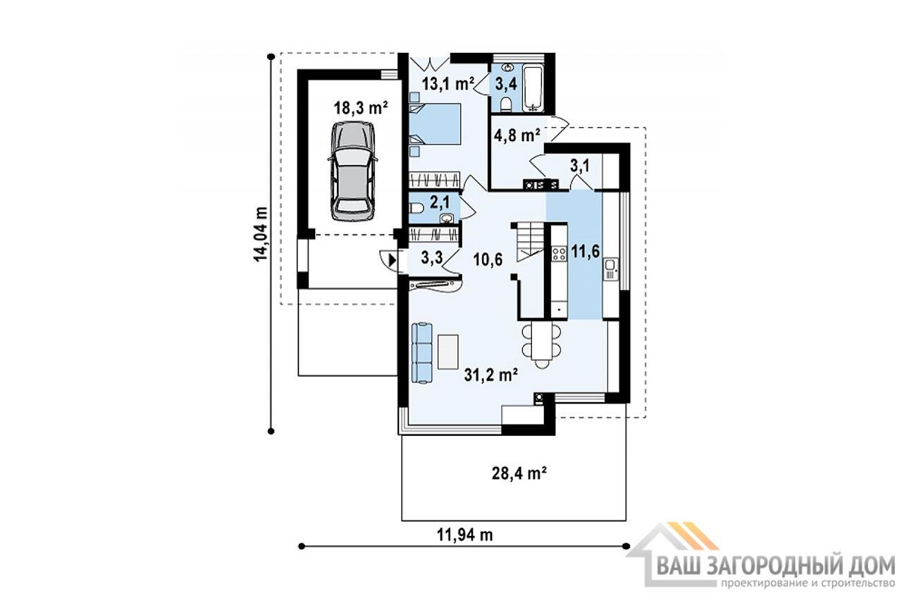 Проект двухэтажного дома площадью 158м2, К-215811 вид 3