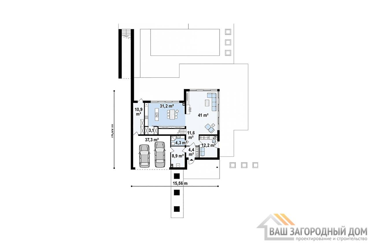 Современный проект дома в два этажа, общей площадью 225 м2, К-222516 вид 3