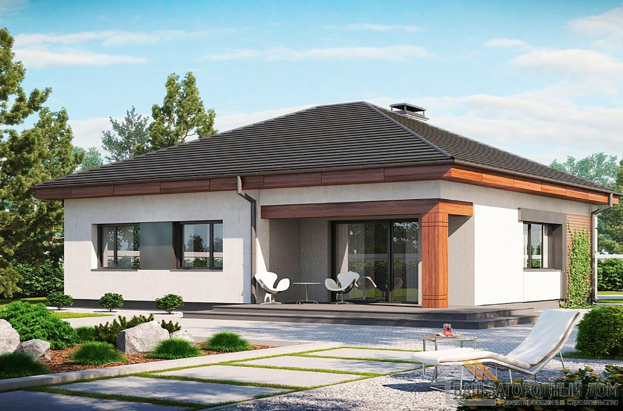 Проект одноэтажного дома общей площадью 94 м2, К-194725 вид 3