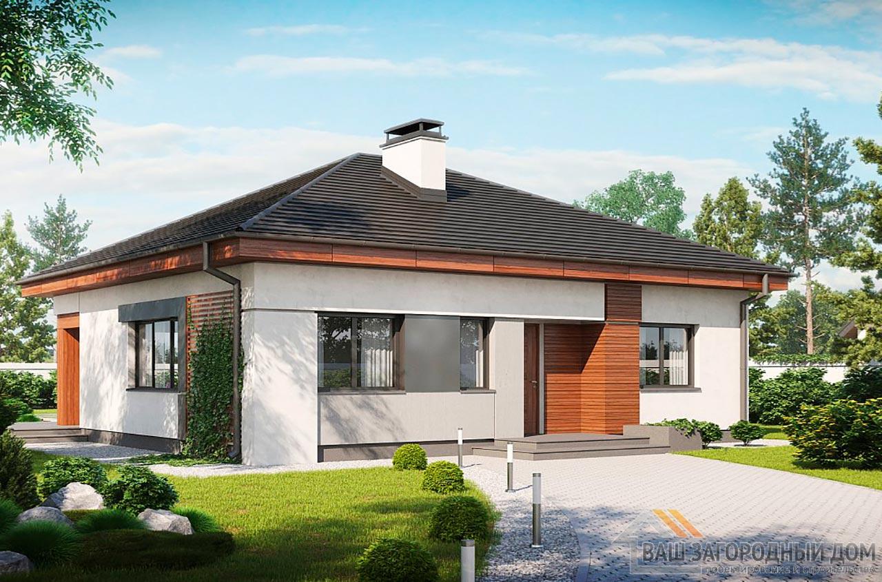 Проект одноэтажного дома общей площадью 94 м2, К-194725 вид 2