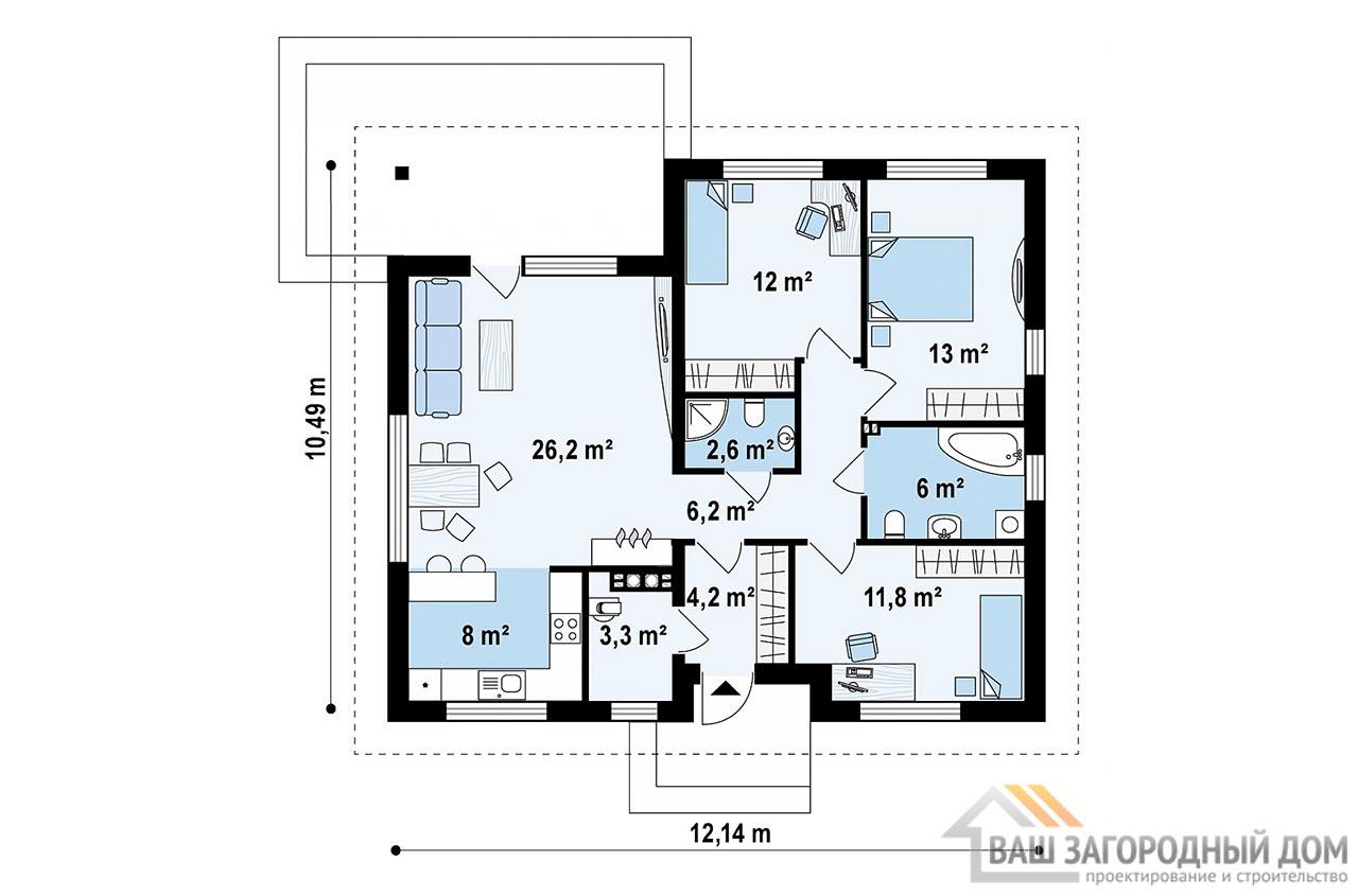 Проект одноэтажного дома общей площадью 94 м2, К-194725 вид 4