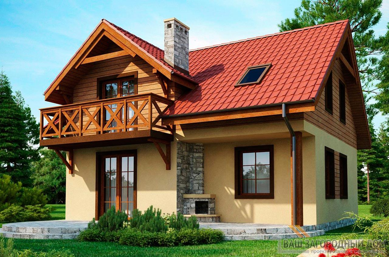 Проект дома в один этаж с мансардой, общей площадью 111м2, К-111183 вид 2