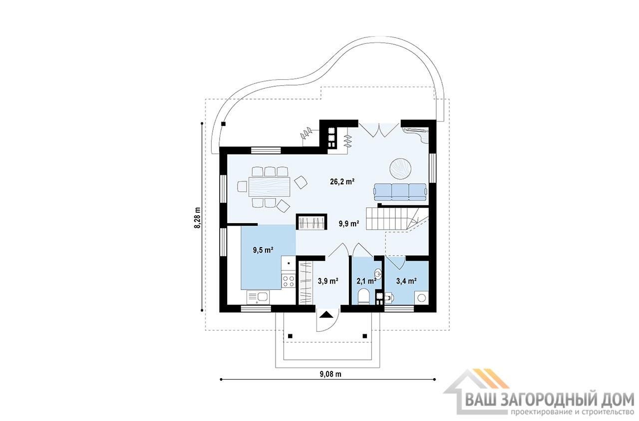 Проект дома в один этаж с мансардой, общей площадью 111м2, К-111183 вид 3