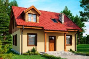 Проект дома в один этаж с мансардой, общей площадью 111м2, К-111183