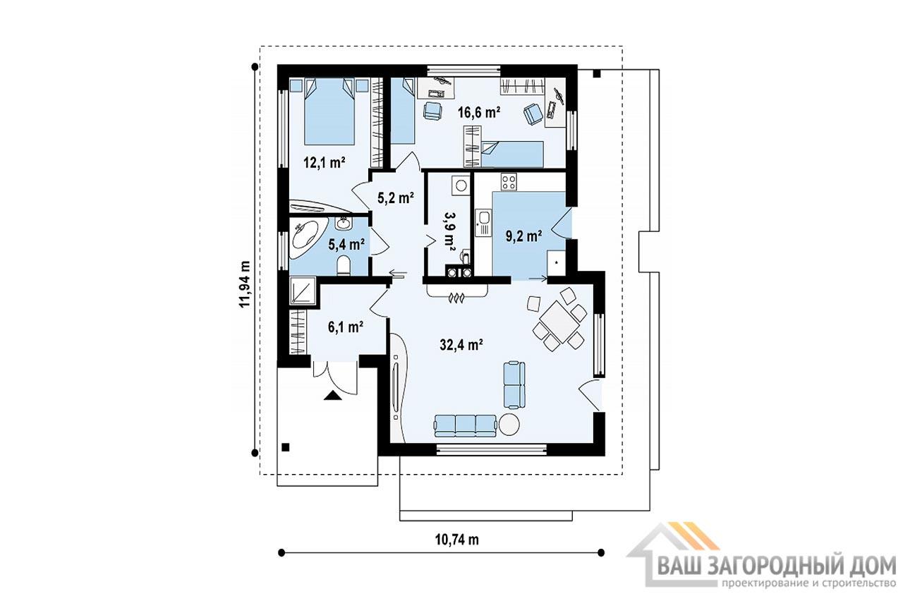 Проект 1 этажного дома для одной семьи площадью 90 м2, К-190675 вид 3