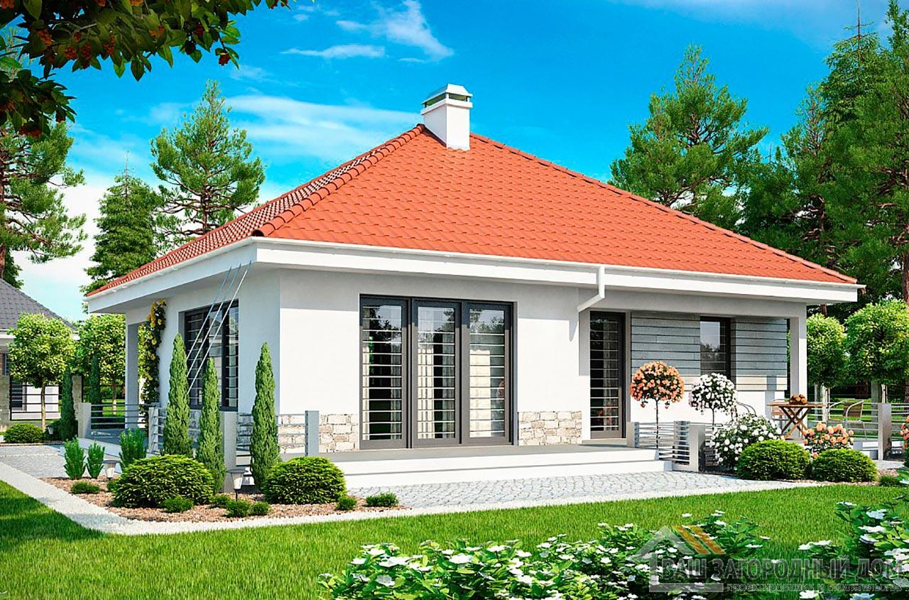 Проект 1 этажного дома для одной семьи площадью 90 м2, К-190675 вид 2