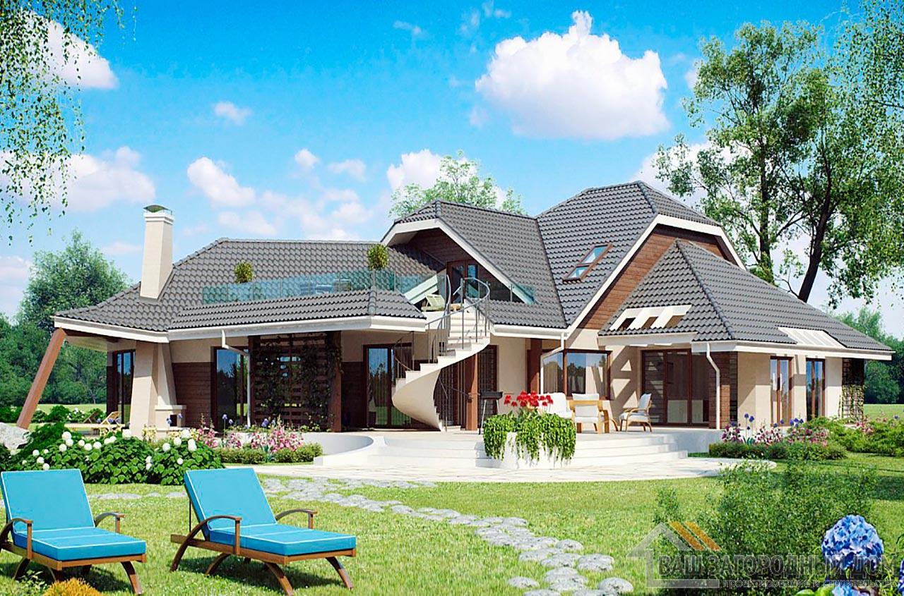Проект изысканного одноэтажного дома с мансардой площадью 466 м2, К-146634 вид 2
