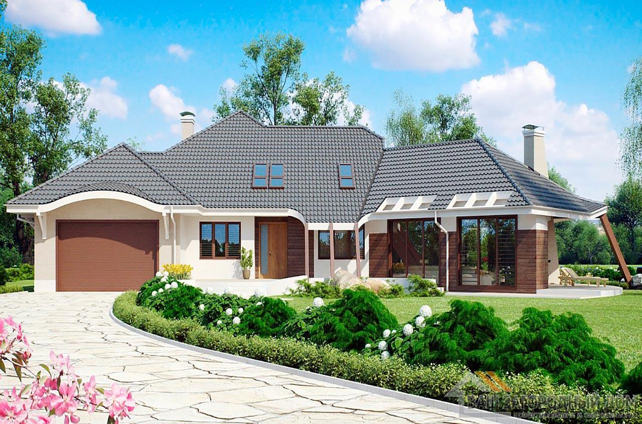 Проект изысканного одноэтажного дома с мансардой площадью 466 м2, К-146634