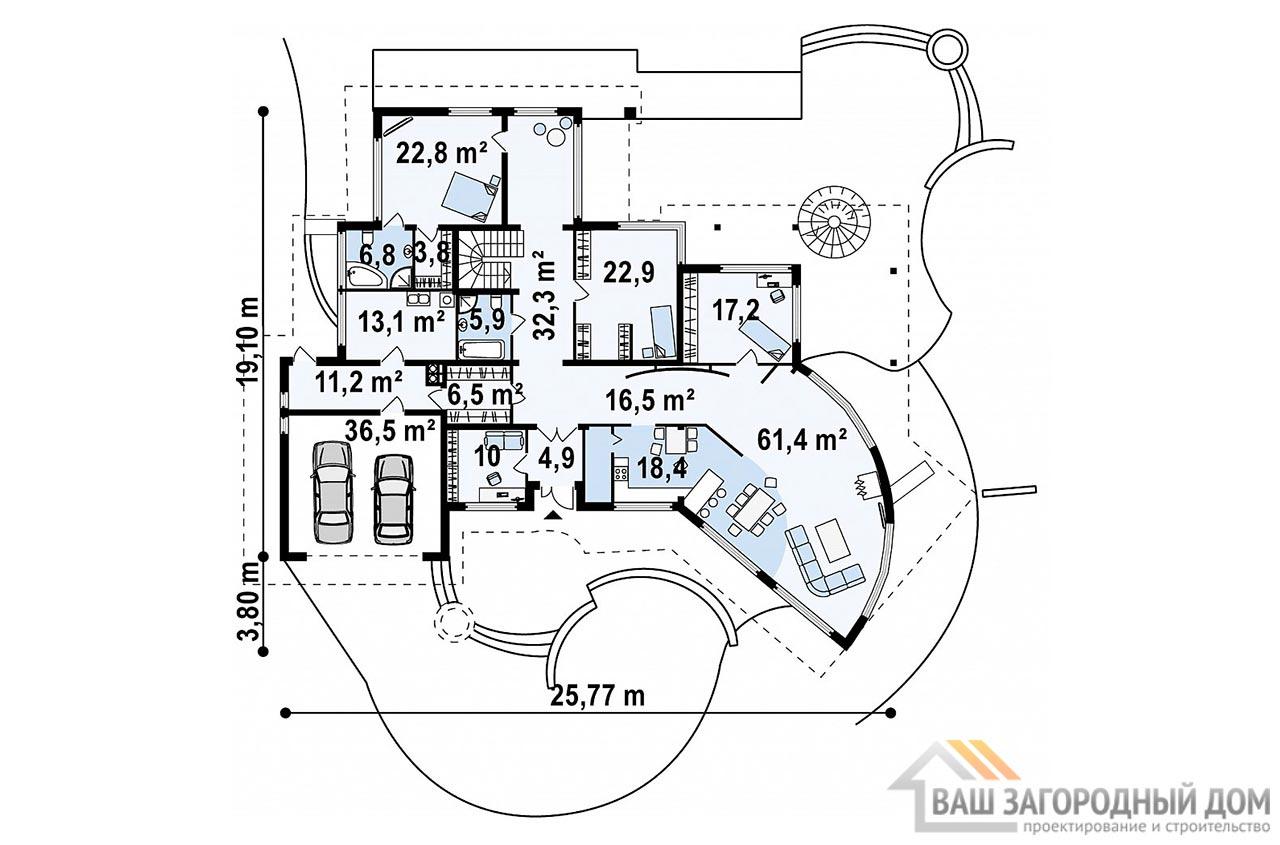 Проект изысканного одноэтажного дома с мансардой площадью 466 м2, К-146634 вид 4