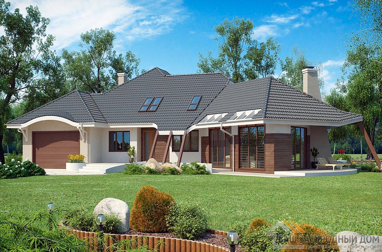 Проект изысканного одноэтажного дома с мансардой площадью 466 м2, К-146634 вид 3