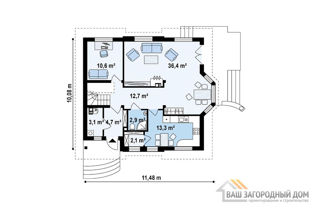 Типовой проект 1 этажного дома с мансардой площадью 168 м2, К-116812 вид 3