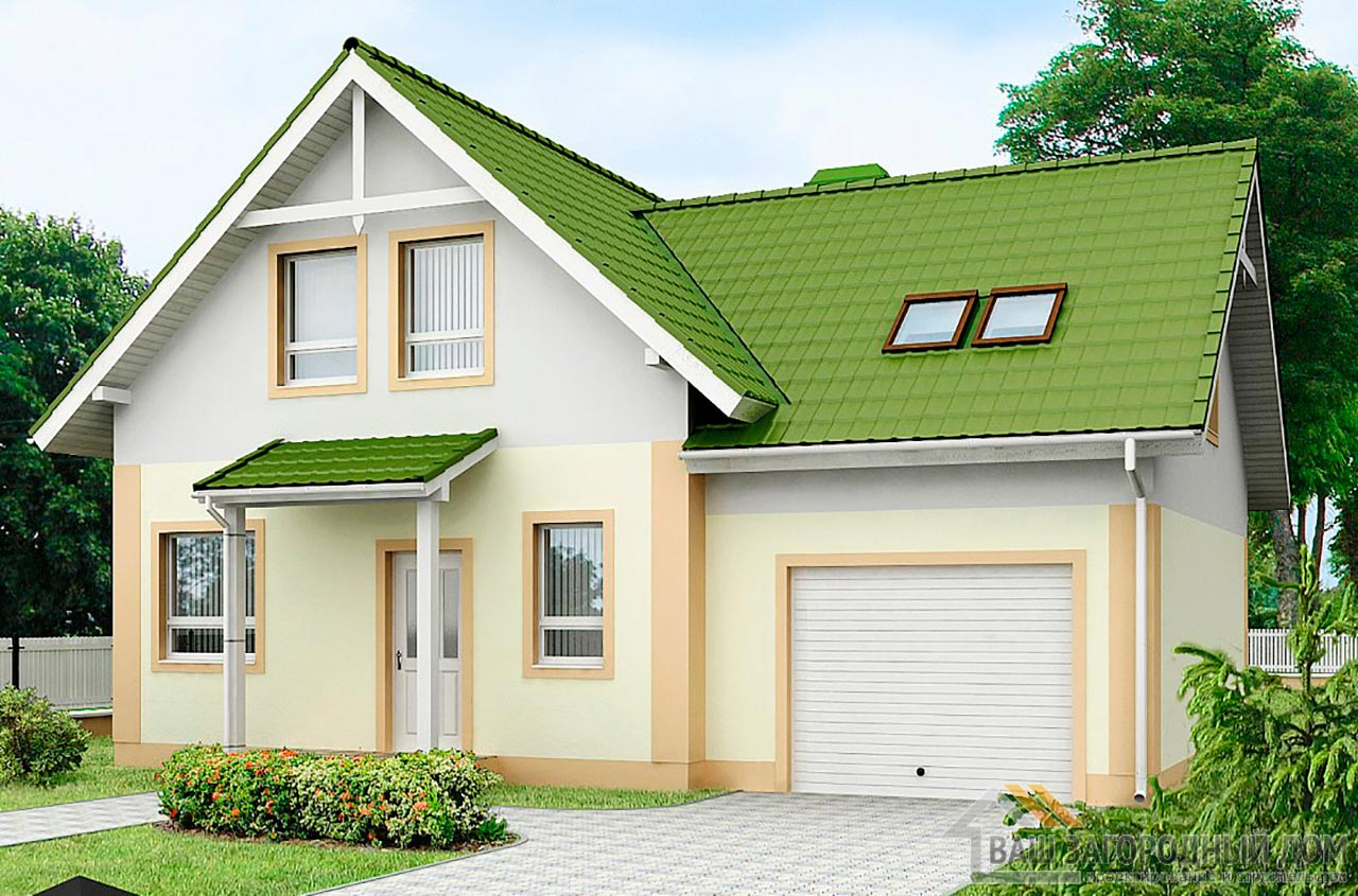 Проект дома с мансардой и гаражом площадью 139м2, К-113910