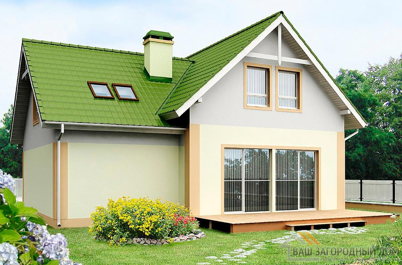 Проект дома с мансардой и гаражом площадью 139м2, К-113910 вид 2