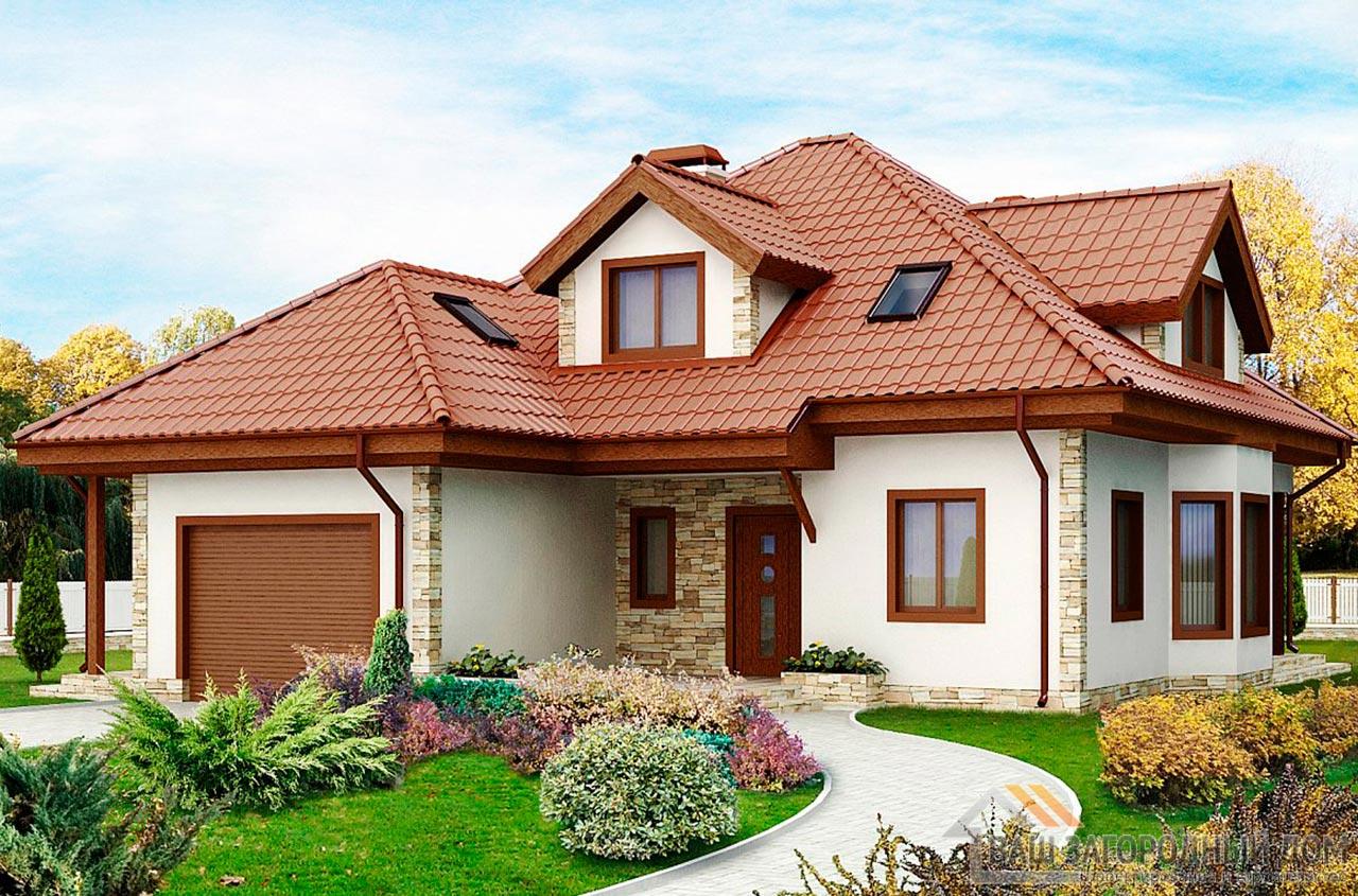 Проект практичного дома в один этаж с мансардой площадью 242 м2, К-124218