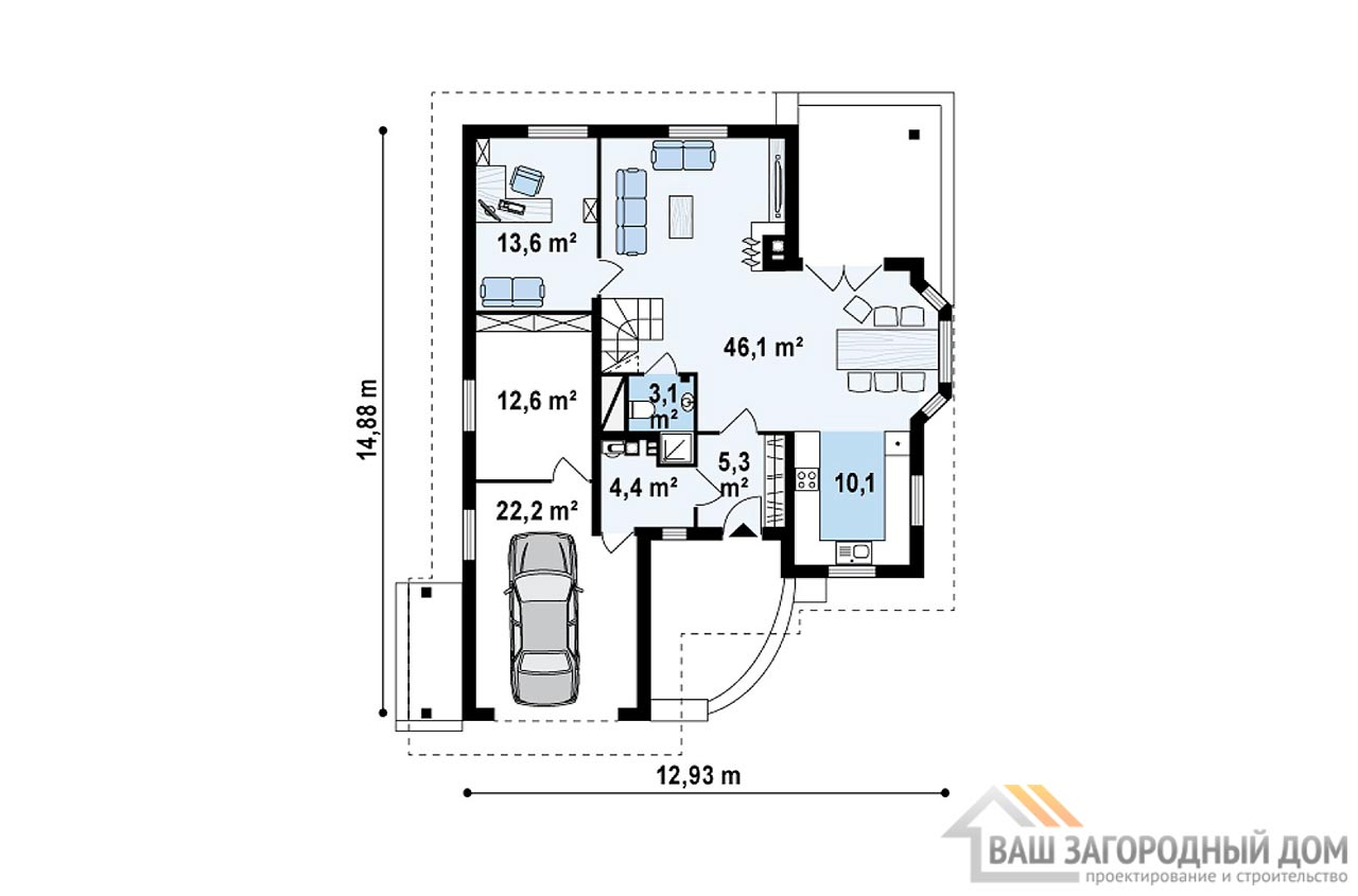 Проект практичного дома в один этаж с мансардой площадью 242 м2, К-124218 вид 3