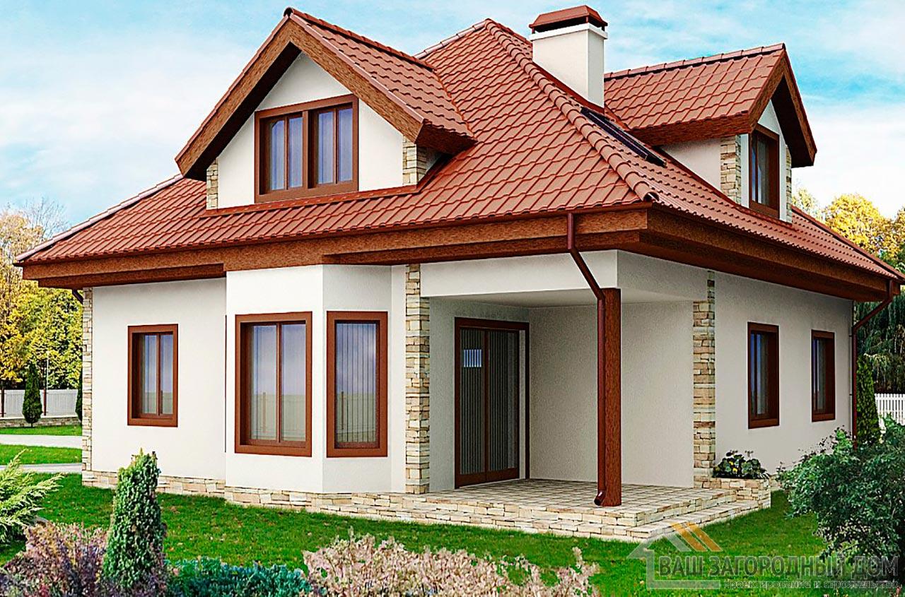 Проект практичного дома в один этаж с мансардой площадью 242 м2, К-124218 вид 2