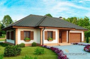 Проект одноэтажного дома с гаражом площадью 202м2,  К-120215