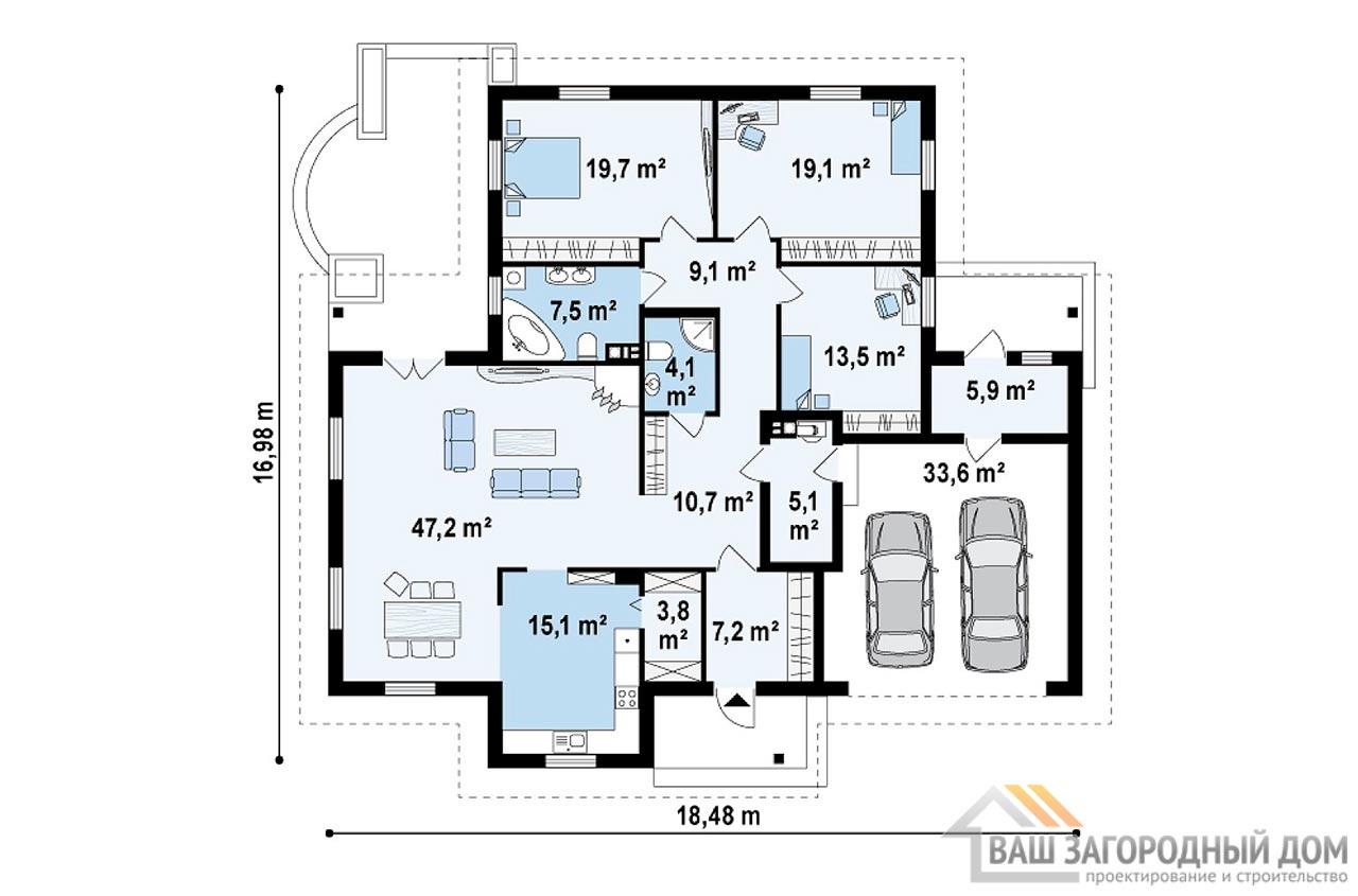 Проект одноэтажного дома с гаражом площадью 202м2,  К-120215 вид 3