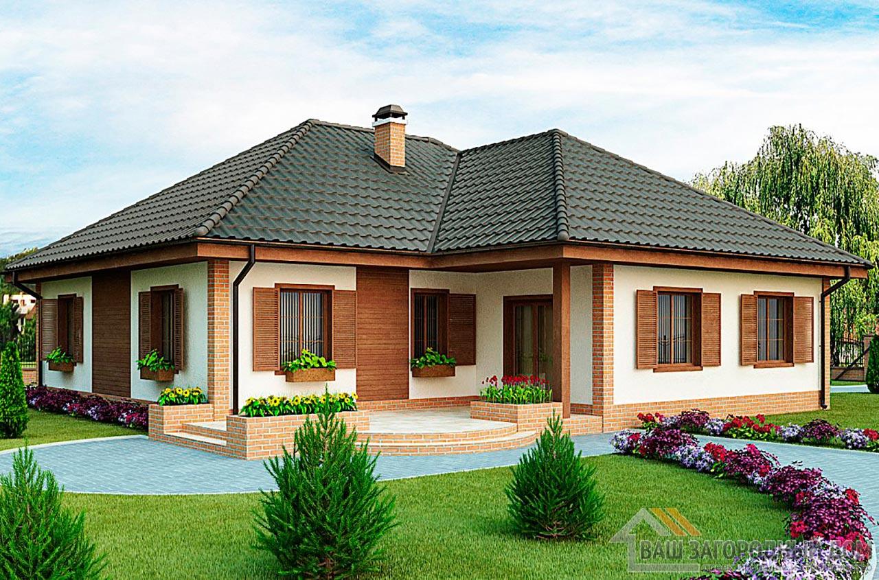 Проект одноэтажного дома с гаражом площадью 202м2,  К-120215 вид 2