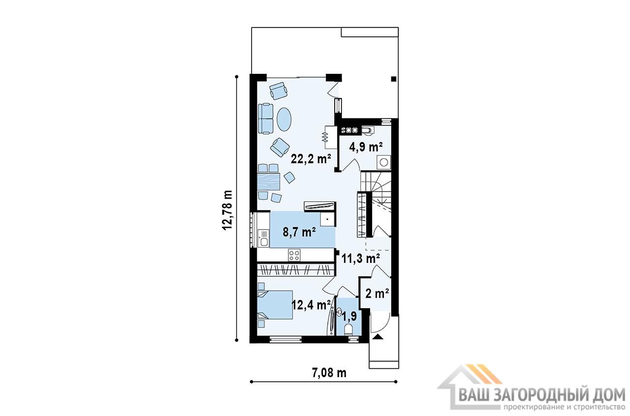 Типовой проект дома площадью 126 м2 , К-112694 вид 3