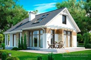 Проект 1 этажного дома с мансардой общей площадью 147 м2, К-114711