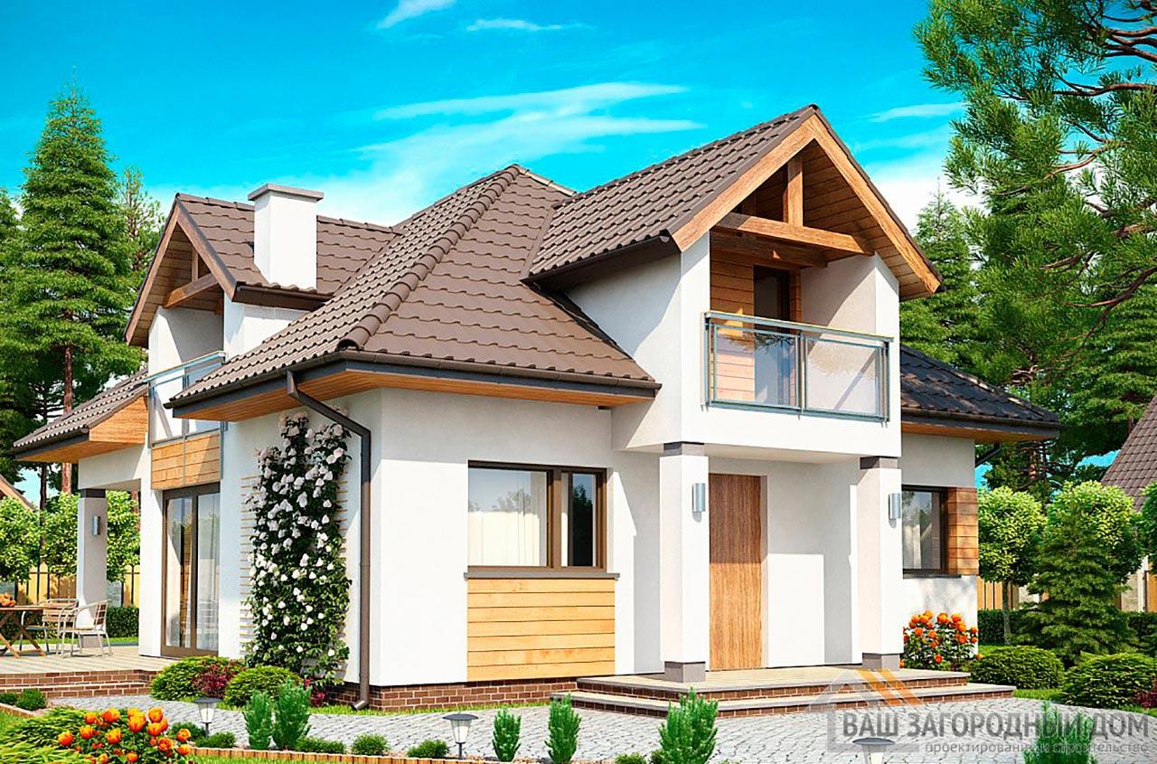 Уникальный проект дома с мансардой площадью 131 м2, К-113198