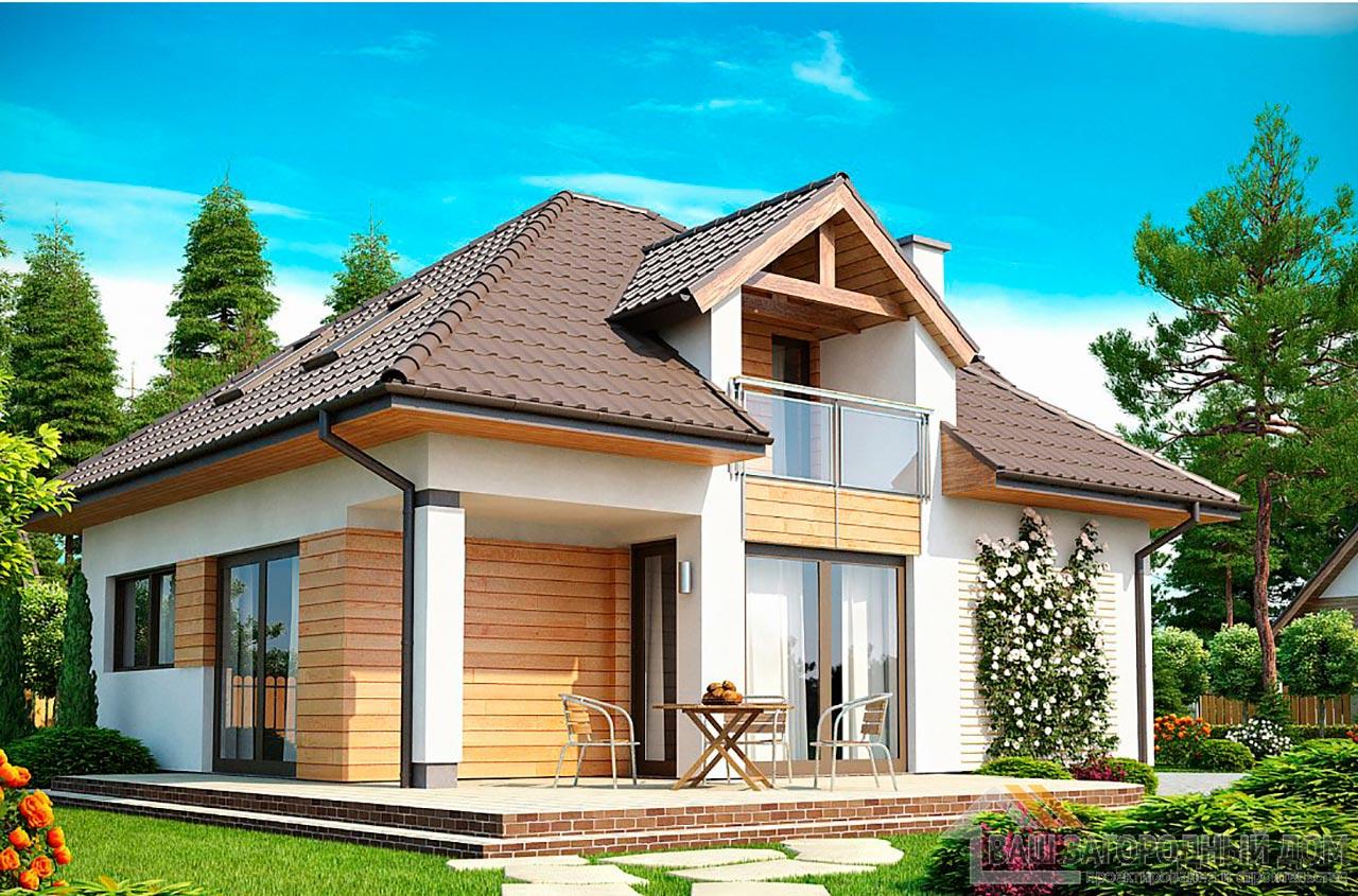 Уникальный проект дома с мансардой площадью 131 м2, К-113198 вид 2