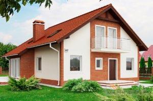 Классический проект дома с мансардным этажом площадью 170 м2, К-117012