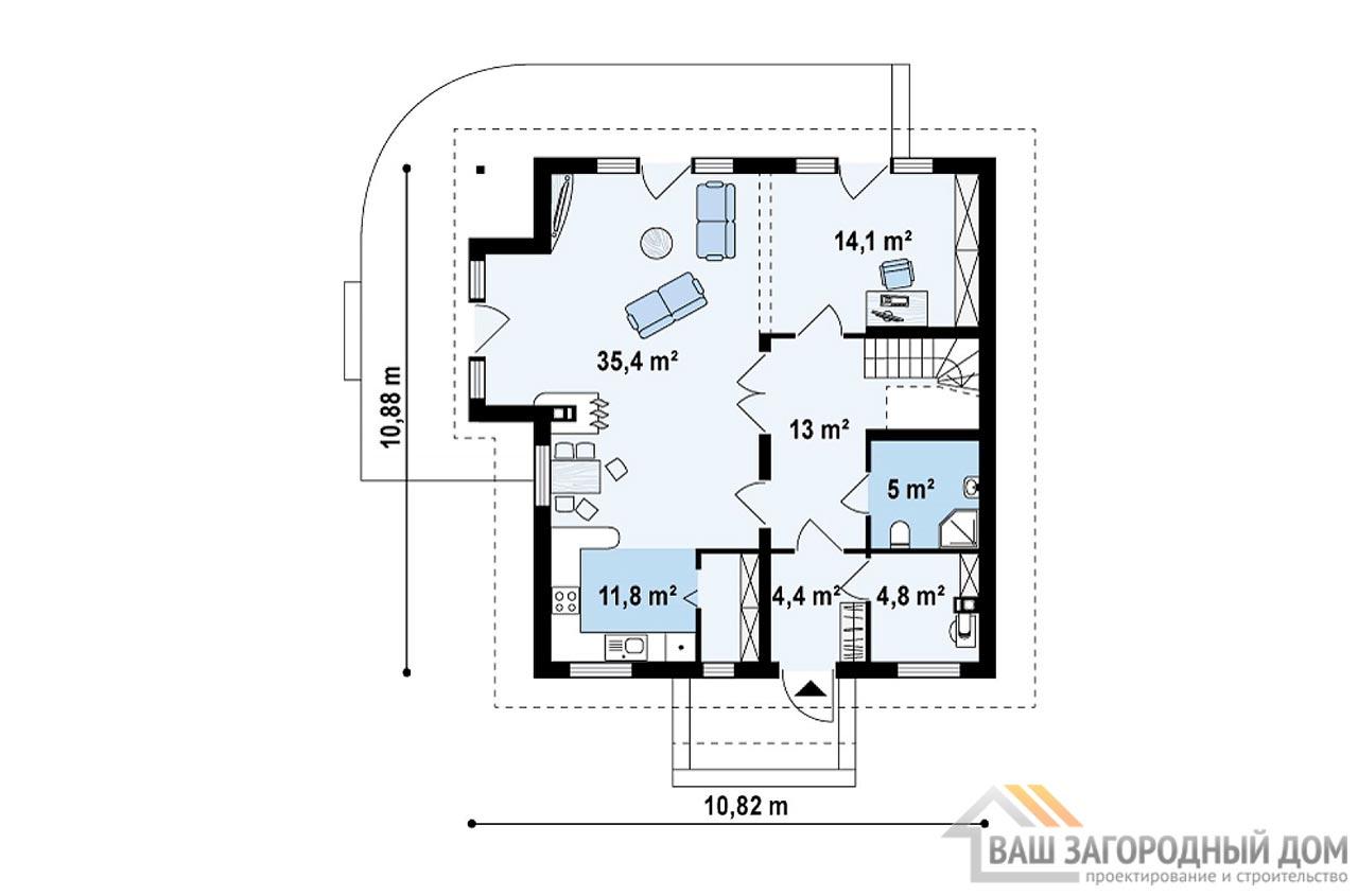 Классический проект дома с мансардным этажом площадью 170 м2, К-117012 вид 3