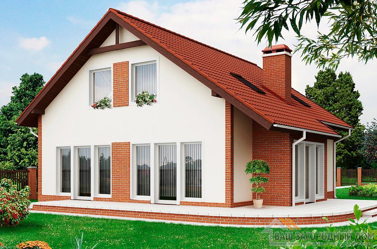 Классический проект дома с мансардным этажом площадью 170 м2, К-117012 вид 2