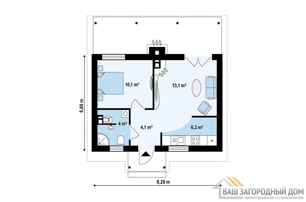 Проект маленького дома площадью 38м2, К-138285 вид 3