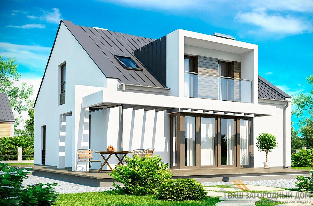 Стильный проект дома с мансардой площадью 177 м2, К-117713 вид 2