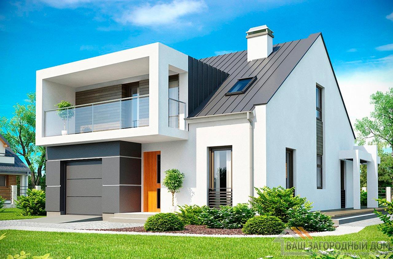 Стильный проект дома с мансардой площадью 177 м2, К-117713