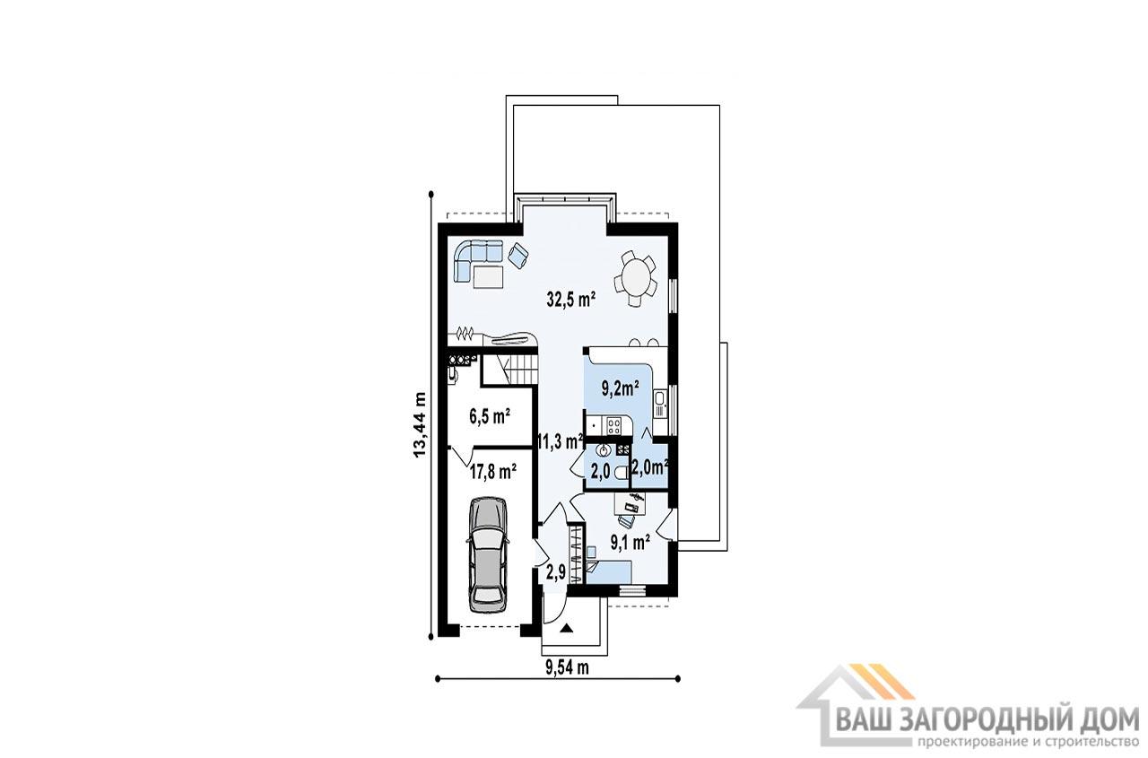 Стильный проект дома с мансардой площадью 177 м2, К-117713 вид 3