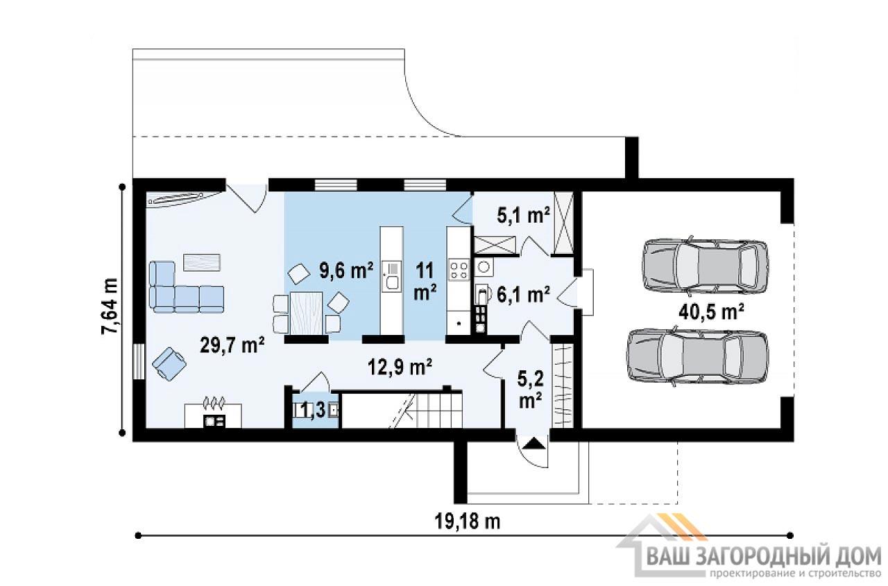Проект стильного двухэтажного дома площадью 198 м2, К-219814 вид 3