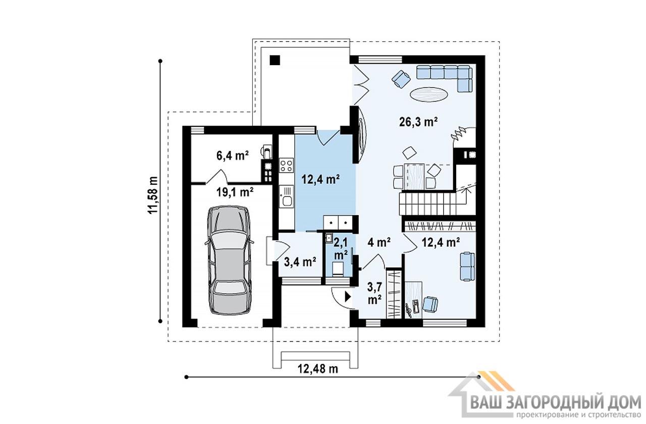 Проект двухэтажного дома площадью 163 м2 , К-216312 вид 3