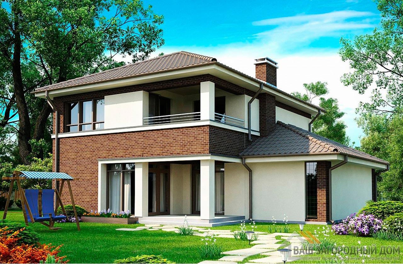 Проект двухэтажного дома площадью 163 м2 , К-216312 вид 2
