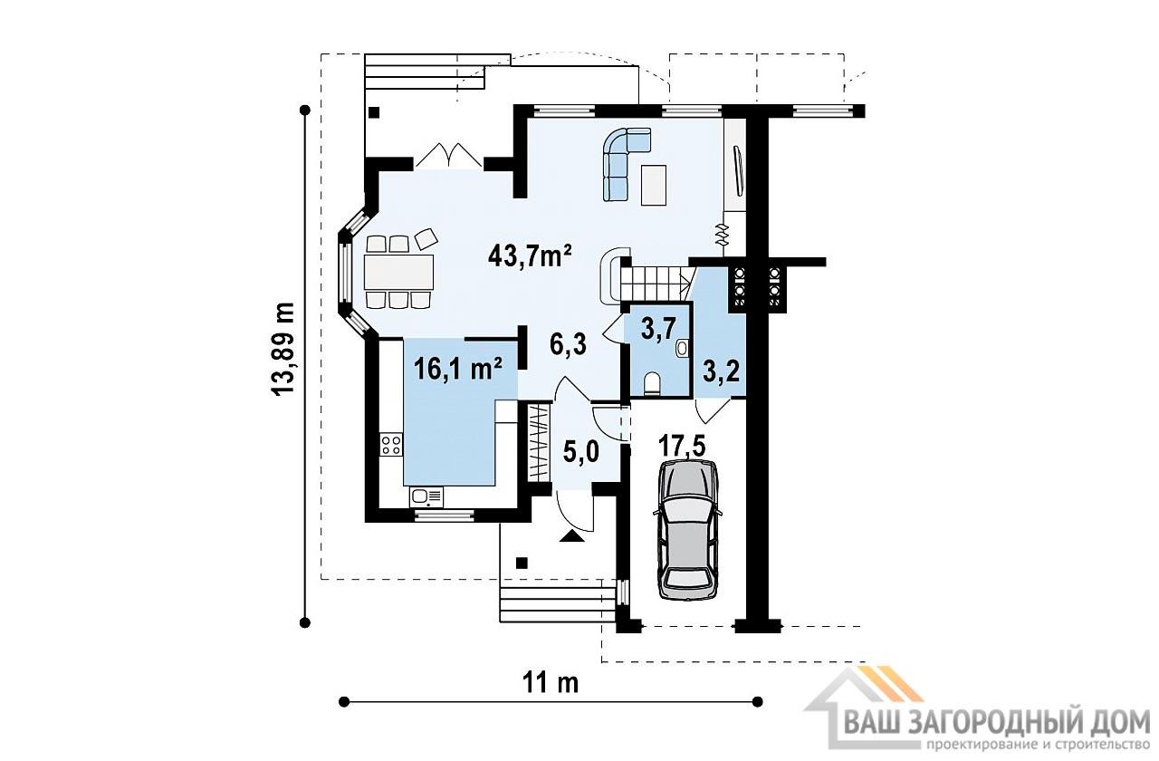 Проект двухквартирного дома площадью 364 м2, К- 217727 вид 3