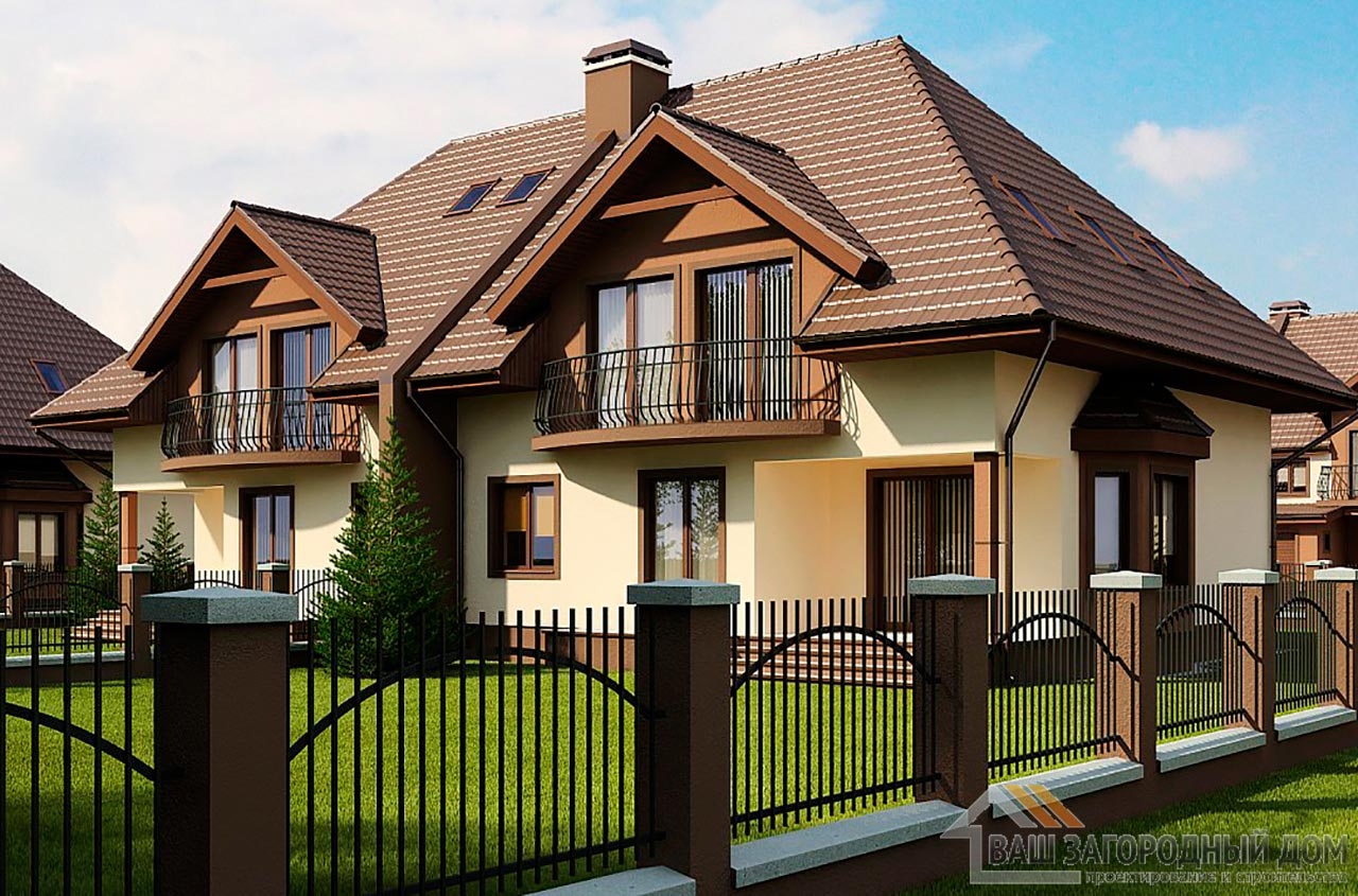 Проект двухквартирного дома площадью 364 м2, К- 217727 вид 2