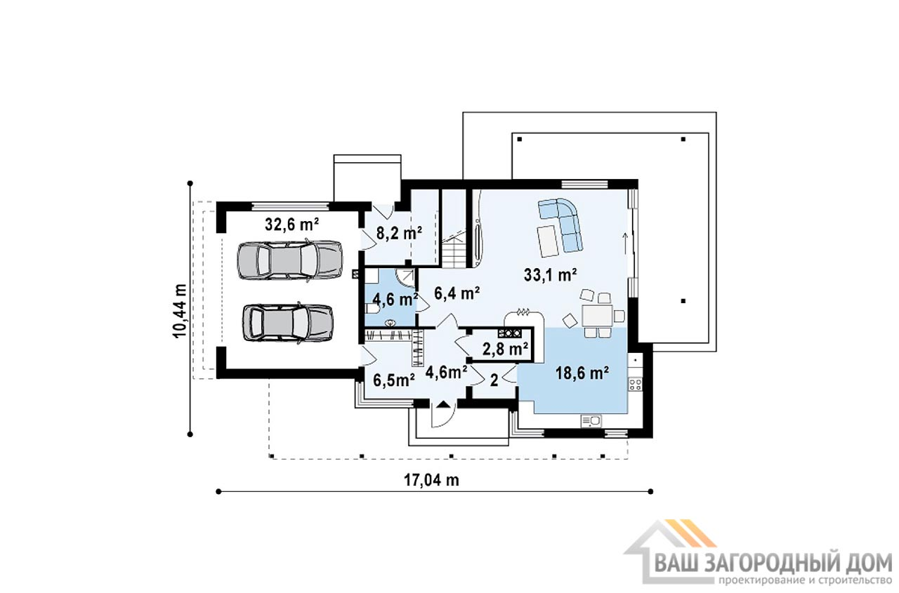 Готовый проект дома в два этажа площадью 238м2, К-223817 вид 3