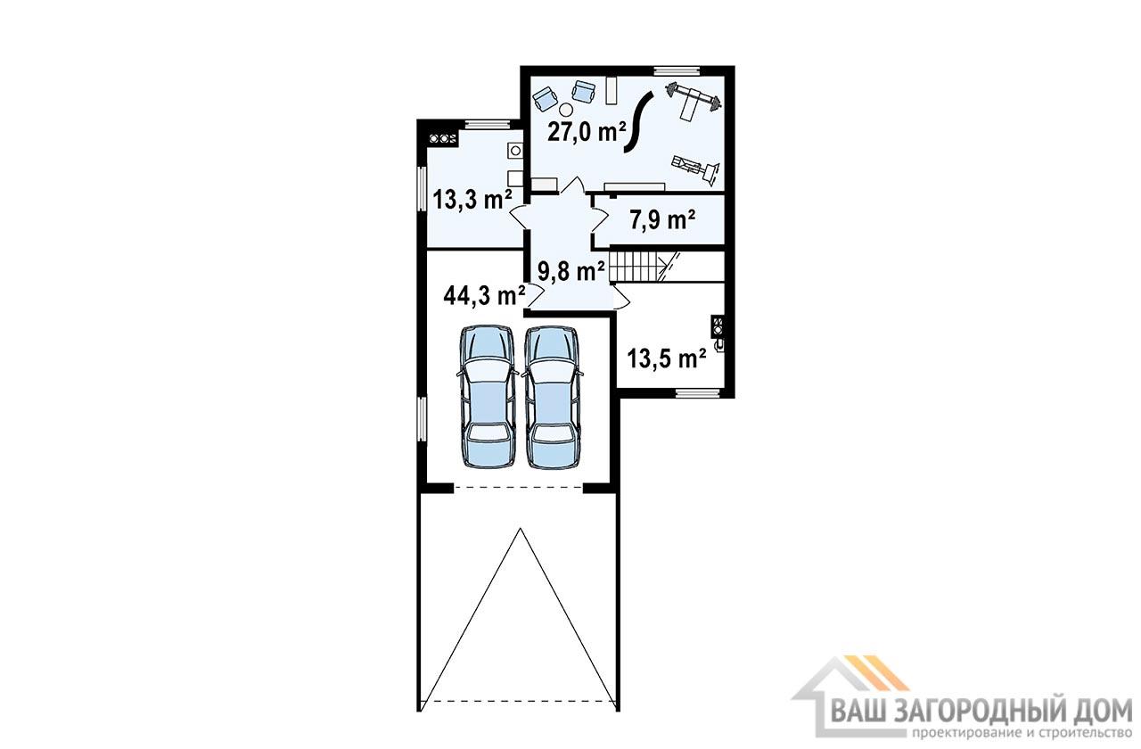 Готовый проект дома в 2 этажа общей площадью 346 м2, К-234626 вид 3