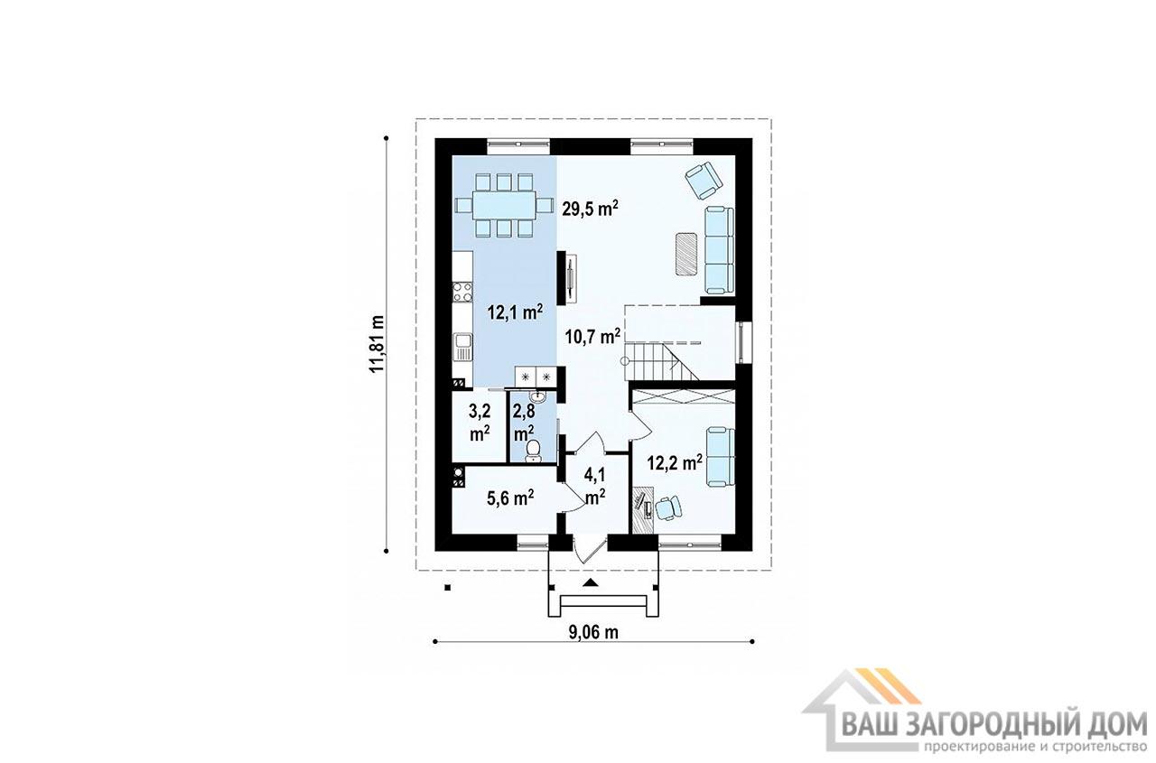 Типовой проект 2-х этажного дома площадью 157 м2, К-215711 вид 4