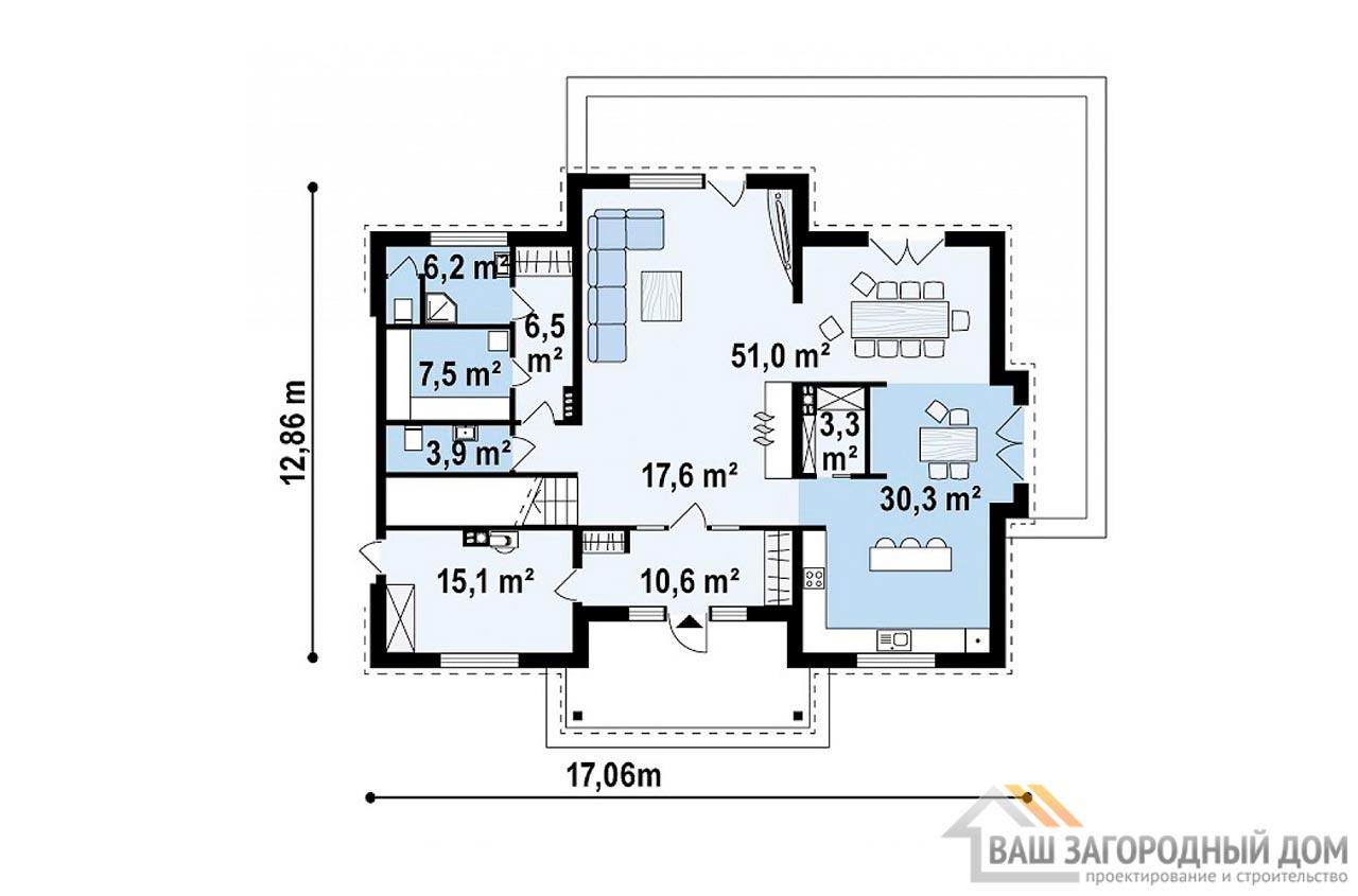 Типовой проект 2-х этажного дома площадью 311 м2, К-231123 вид 3